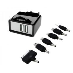 CARGADOR PARED APPROX APPUATS 5V/2.1A 2XUSB 6 CONECTORES | Quonty.com | APPUATS