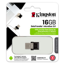 PENDRIVE KINGSTON 16GB USB3.0 DT MICRODUO USB / MICRO USB OTG | Quonty.com | DTDUO3/16GB