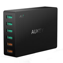 CARGADOR USB PARED AUKEY PA-T11 6PTOS (4+2 RAPIDO) | Quonty.com | PA-T11