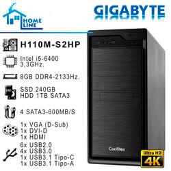 ORD. PROFESSIONAL INTEL I5-6400 GIGABYTE H110M-S2HP 8GB-2133MHZ H1TB S240GB DVRW / CAJA COOLBOX F800   Quonty.com   ORDHL6400-H1S2