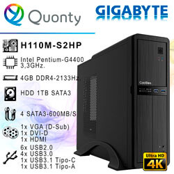 ORD. ECONOMIC INTEL G4400 GIGABYTE H110 4GB-2133MHZ 1TB DVDRW / CAJA COOLBOX T300 | Quonty.com | ORDHL4400-H1