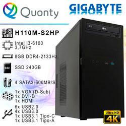 ORD. OFFICE INTEL I3-6100 GIGABYTE H110 8GB S240GB DVDRW / CAJA UNYKA UK-6K CAVIAR   Quonty.com   ORDHL6100-S2