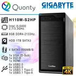 ORD. PROFESSIONAL INTEL I5-6400 GIGABYTE H110M-S2HP 8GB-2133MHZ H1TB DVDRW / CAJA COOLBOX F800   Quonty.com   ORDHL6400-H1
