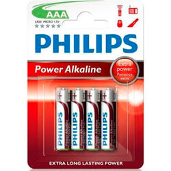 PILAS PHILIPS POWERLIFE ALKALINE AAA LR03 BLISTER*4 | Quonty.com | LR03P4B/10