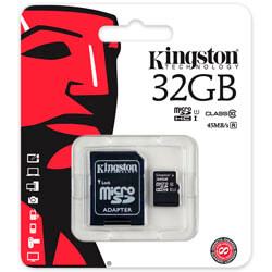 MICROSD KINGSTON 32GB CL10 UHS-I ADAPTADOR SD | Quonty.com | SDC10G2/32GB