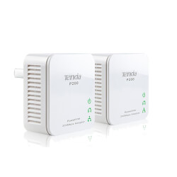 PLC/POWERLINE TENDA P200 - HASTA 200MBPS - 300M - BOT N DE SEGURIDAD- PLUG AND PLAY - PACK 2 UDS | Quonty.com | P200 TWIN PACK