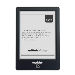 LIBRO ELECTRÓNICO WOLDER MIBUK MIRAGE 6'' 1024x758 8GB TÁCTIL LUZ FRONTAL WIFI NEGRO | Quonty.com | D01EB0095