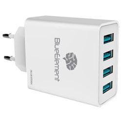 CARGADOR USB PARED BLUESTORK SMARTCHARGER4 4PTOS 5.1A | Quonty.com | WALL-50-U4-BE